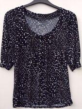 New Look Women's Polka Dot Black/White Blue Spots Shirt Blouse Top Size 8 EU 36