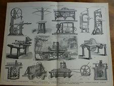 1874 ENGRAVING SAWING MACHINERY - Belt-Saw VENNEER Tenon
