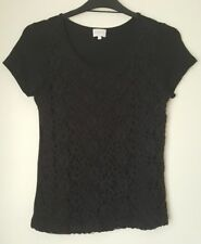LADIES EAST SIZE 14 BLACK LACE FRONT SOFT STRETCH TOP