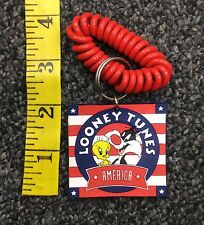 1995 TM & Warner Bros Looney Tunes Tweety Sylvester America Rubber Keychain New
