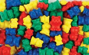Teddy Bear Counters for Maths 96 pcs Different Weights Sizes Colours Counting