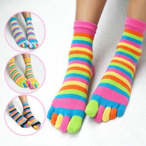Women's Cotton Toe Socks Striped Colourful Rainbow Anti-slip Five Fingers Socks