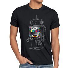 Testbild Roboter T-Shirt Herren Big Bang Sheldon TV Monitor Robot theory cooper