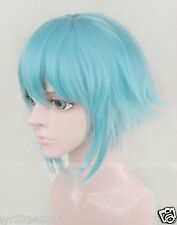 NEW Sword Art Online Gun Gale Online Sinon Ice blue short cosplay wig + wig cap