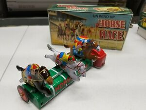 2003 Schylling Tin Wind Up Horse Race w Box Reproduction