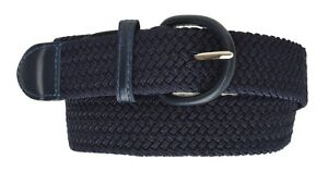 """7001 Men's New Leather Covered Buckle Woven Elastic Stretch Belt 1-1/4""""  Unisex"""