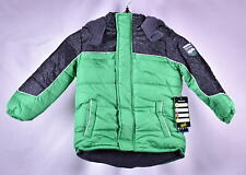 Little Boy's iXtreme Tonal Geo Print Winter Puffer Jacket, Green