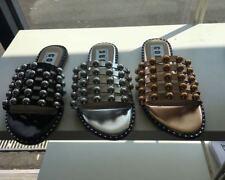 Womens Ladies Studded Slider Flat Summer Sandals Cage Slides Bling Diamante
