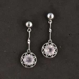 925 Sterling Silver Natural Rose Quartz Round Cut Gemstone Long Earring