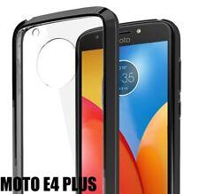 For Motorola Moto E4+ Plus - HARD TPU RUBBER GUMMY SKIN CASE COVER BLACK CLEAR