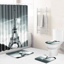 Eiffel Tower Bathroom Rug Set Shower Curtain Bath Mat Non-Slip Toilet Lid Cover
