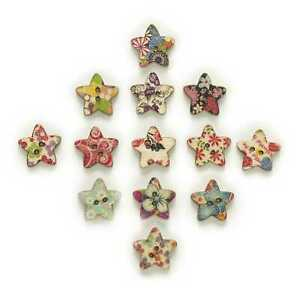 50pcs Star Shape Wood Buttons Sewing Scrapbooking Cloth Home Crafts Decor 17mm