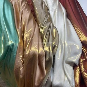 """SHIMMER SILK FOIL TWO TONE SATIN DRESS FABRIC DRAPING BRIDAL CARNIVAL 58"""" WIDE"""