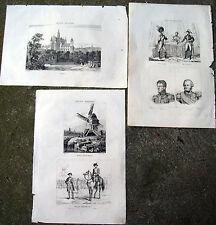 1836 NAPOLEONE IN OLANDA LOTTO INCISIONI: LEIDA, L'AJA, UNIFORMI OLANDESI