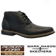 Mens Skechers Leather Memory Foam Walking Ankle Desert Chukka BOOTS Shoes Size Black UK 7 EU 41