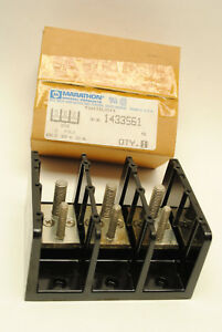 Marathon Cat.No 1433561 Distribution Power Stud Block 3 Pole, 230 Amp, 600 Volt