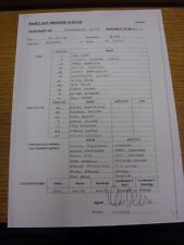 03/02/2014 Teamsheet: Manchester City v Chelsea  (Copy Of Original Teamsheets Si