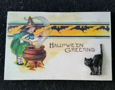 Vintage Image 3D (reproduction) Halloween wooden Postcard Black Cat Little Girl