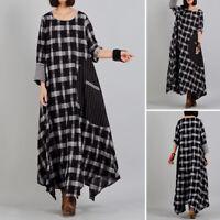ZANZEA Women Long Maxi Dress Plaid Check Stripe Shirt Dress Full Length Dress