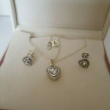 Pandora Silver Love Hearts Necklace Earrings