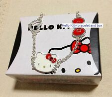 Sanrio Hello Kitty Silver-Plated Red Bow/Love Heart/Diamante Bracelet BNIB Cute