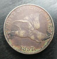 1857 Flying Eagle Penny Cent Extremely XF Details Minor Corrosion