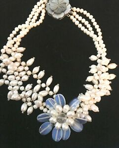 PEARLS-UNIQUE DESIGN, OPALINE FLOWER, MOTHER O'PEARL CLASP, STUNNING NECKLACE