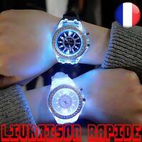 Montre Silicone LED Lumineux Mode Femme Homme Coloré Sport Bijoux Strass Mode