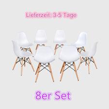 8 Stück Weiß stuhl Wohnzimmer stuhl Esszimmerstuhl Kunststoff Stühle Chairs Set