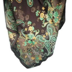 """Wyoming Traders Wild Rag Charmeuse Hickory Mint Silk Western Scarf - 34.5"""""""