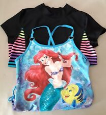 Disney Little Mermaid Girls Swimsuit Large 1-Piece Black/Rainbow Rash-guard