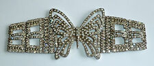A VINTAGE 1980s SILVER TONE & DIAMANTE BUTTERFLY SEW ON BELT / DRESS DECORATION