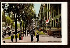 1904 flags Broadway street scene looking east Saratoga New York postcard