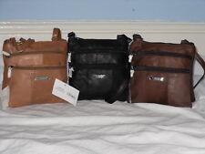 Soft Leather Neck Shoulder Purse/Bag With 4 Zips Adjustable Shoulder Strap.
