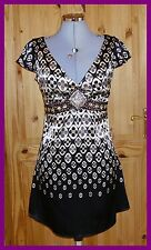 JANE NORMAN black brown beige satin floral rhinestone sequin party mini dress 10