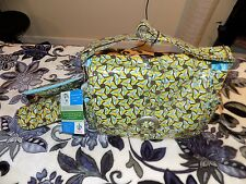 Kalencom Laminated Buckle Bag in Brown,Green, Blue Pinwheel Print-NEW with Tags