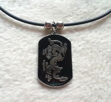 New Dragon Pendant Black Leather Cord Charm Necklace  Retro Vintage Hippie
