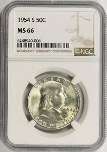 1954-S 50c Franklin Half Dollar NGC MS66