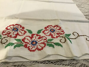 Two Unfinished Vintage Embroidered Linens~ Scarf with Kitten & Floral Pillowcase