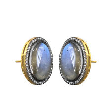 Dangle Earrings 14K Gold Jewelry Labradorite Gemstone Diamond Pave 925 Silver