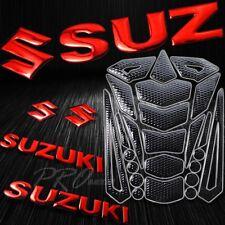 """24PCs Perforated Black Fuel Tank Pad+2x 8"""" Red Suzuki Logo+Letter Emblem Sticker"""