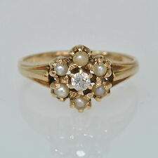 Ladies Victorian Antique 14k Yellow Gold Seed Pearl & Diamond Flower Ring