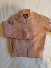Pink Suede Bomber Jacket- real leather
