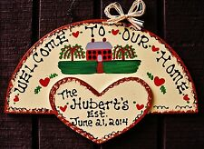Personalize FAMILY NAME w/EST DATE Welcome To Our Home SIGN Door Wall Plaque