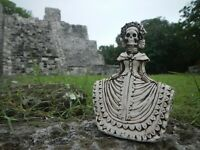"""Mexican Talavera Catrina Day Of The Dead Folk Art Handmade Fishbone Carving 5"""""""