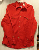 Vintage Prentiss Outdoors Cotton Button Shirt Men's Large Red Long Sleeve   1/00