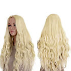 Women's Curly Hair Full Wig Wigs Long Light Blonde Heat Resistant Wavy Cosplay C