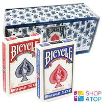 12 DECKS BICYCLE RIDER BACK BRIDGE SIZE BLUE RED SEALED BOX CASE PLAYING CARDS