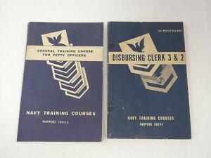LOT OF 2 VTG NAVY TRAINING COURSES MANUALS PETTY OFFICERS & DISBURSING CLERK 3&2