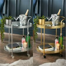 New Deco Glamour Drinks Trolley -2 Mirrored Shelves - Art Deco Theme Gold Silver